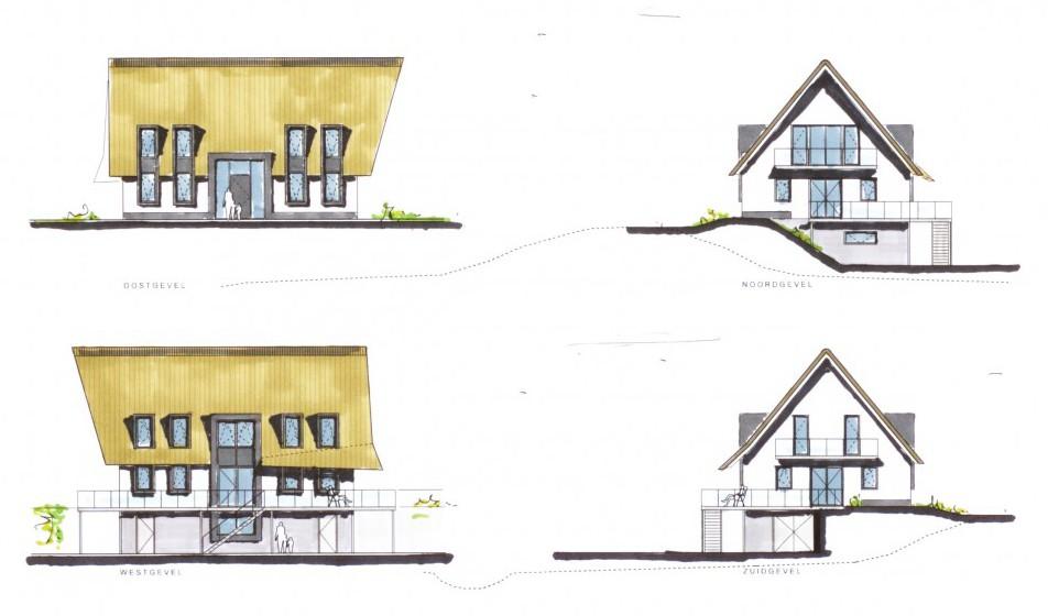Schets dijkwoning Zwolle - Sjouke Westhoff Architect